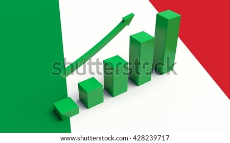 Arrow pointing up on a Flag of Italy. 3D illustration