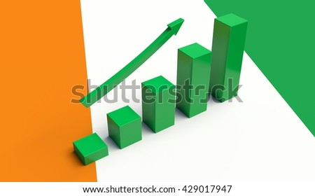 Arrow pointing up on a Flag of Ivory Coast. 3D illustration
