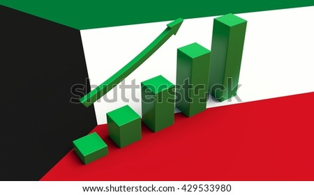 Arrow pointing up on a Flag of Kuwait. 3D illustration