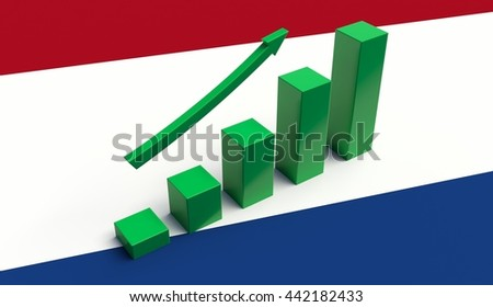 Arrow pointing up on a Flag of Netherlands. 3D illustration