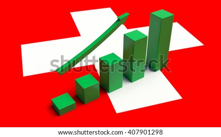 Arrow pointing up on a Flag of Switzerland. 3D illustration