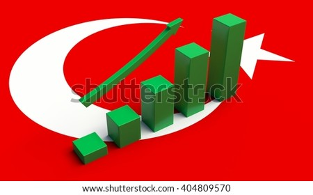 Arrow pointing up on a Flag of Turkey. 3D illustration