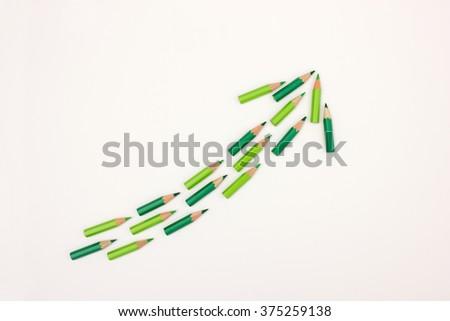 Arrow pointing upwards - useful image to visualize success, growth, profit increase, improvement - stock photo