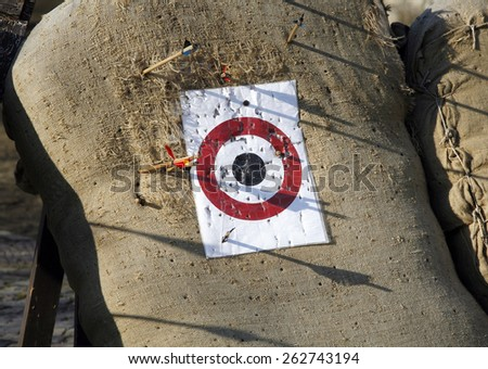 Arrow range field practice target. Arrows missed target  - stock photo