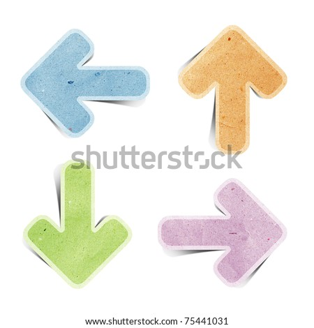 arrow recycled paper stick on white background - stock photo