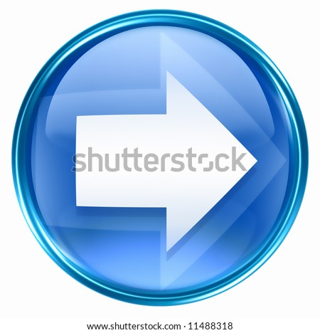 Arrow right icon blue, isolated on white background. - stock photo