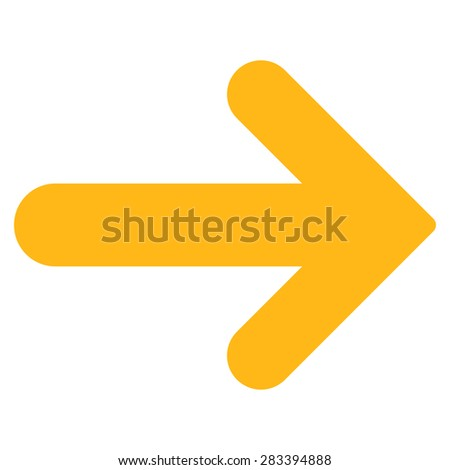 Arrow right icon from Basic Plain Icon Set. Style: flat symbol icon, yellow color, rounded angles, white background. - stock photo