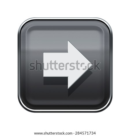 Arrow right icon glossy grey, isolated on white background - stock photo