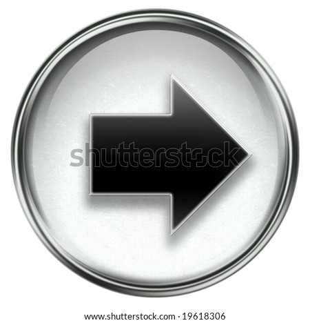 Arrow right icon grey, isolated on white background. - stock photo