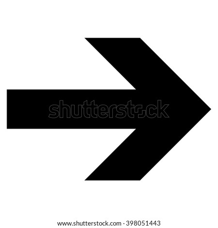 Arrow Right raster icon. Style is flat icon symbol, black color, white background.