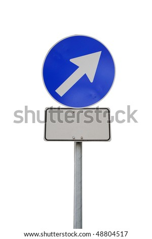 Arrow road sign up-right with billboard isolated