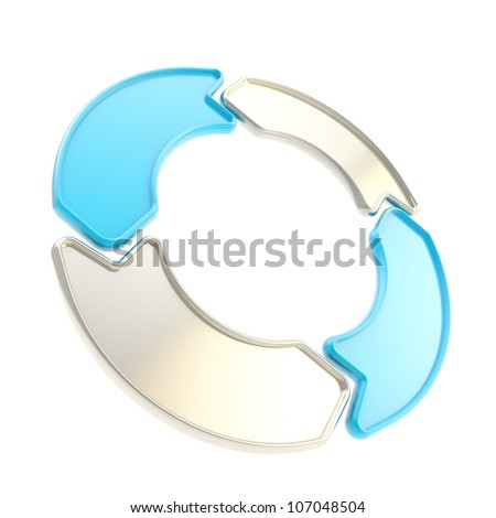 Arrow shape tags forming circle emblem copyspace plate isolated on white