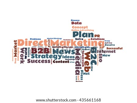 Arrow shaped Direct Marketing word cloud