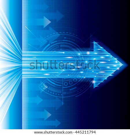 Arrow sign abstract technology blue background. - stock photo