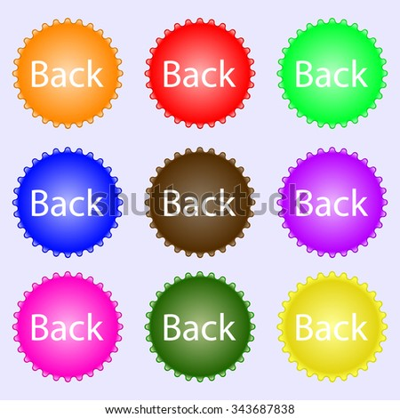 Arrow sign icon. Back button. Navigation symbo. A set of nine different colored labels. illustration