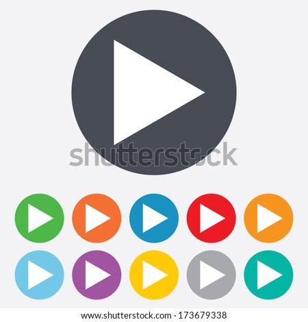 Arrow sign icon. Next button. Navigation symbol. Round colourful 11 buttons. - stock photo