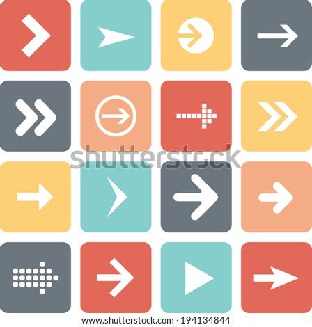 Arrow sign icon set, flat design, web design elements, raster version - stock photo