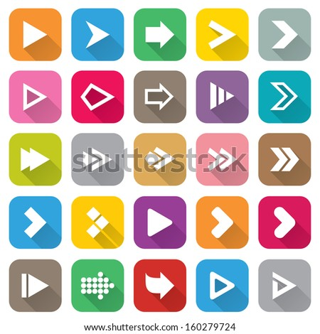 Arrow sign icon set. Flat icons for Web and Mobile Applications. 25 metro style buttons. Isolated on white. - stock photo
