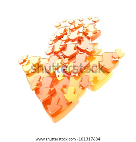 Arrow sign made of smaller yellow and orange ones isolated on white - stock photo
