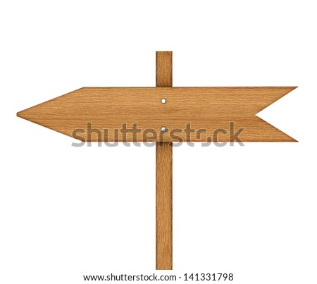Arrow sign made out of wood isolated, with clipping path, 3d - stock photo