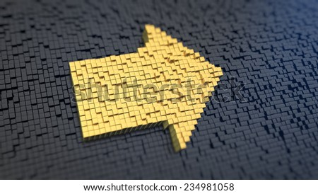 Arrow sign of the yellow square pixels on a black matrix background - stock photo