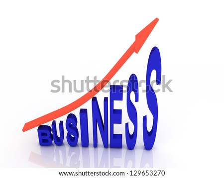 Arrow sign pointing up with business word 3d illustration