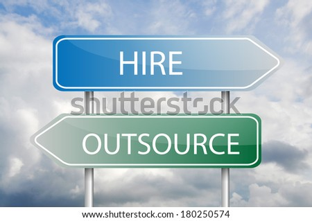 """Arrow sign posts """"Hire"""" and """"Outsource"""" over the blue sky - stock photo"""