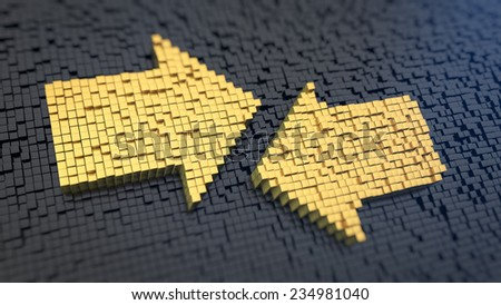 Arrow signs of the yellow square pixels on a black matrix background. Opposite direction concept. - stock photo
