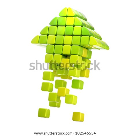 Arrow technology icon made of glossy cubes isolated on white - stock photo