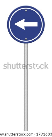 Arrow traffic sign isolated on white background ,part of a series.