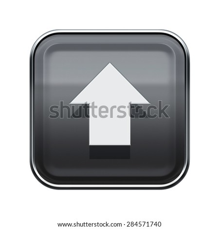 Arrow up icon glossy grey, isolated on white background - stock photo
