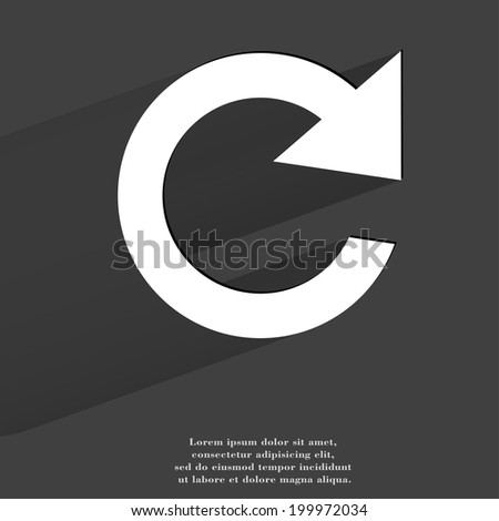 arrow Update. Flat modern web button with long shadow and space for your text. . - stock photo