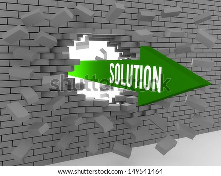 Arrow with word Solution breaking brick wall. Concept 3D illustration. - stock photo