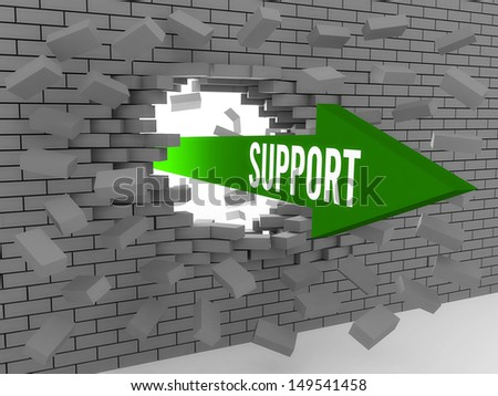Arrow with word Support breaking brick wall. Concept 3D illustration. - stock photo