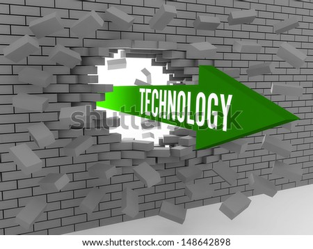 Arrow with word Technology breaking brick wall. Concept 3D illustration. - stock photo