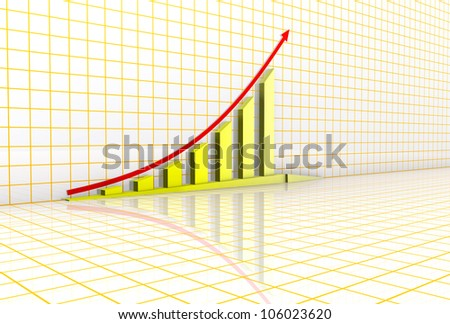 Arrowed business chart over grid background