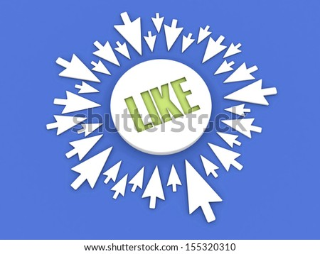 Arrows aimed at the word LIKE. Concept 3D illustration. - stock photo