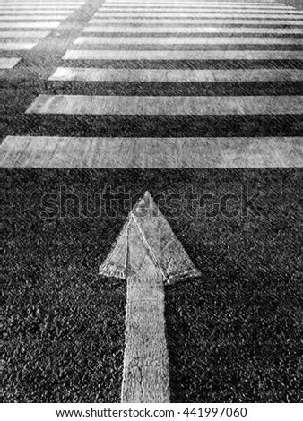 arrows and crosswalk/crosswalk - stock photo