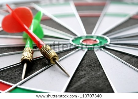 arrows and darts target the exact game - stock photo