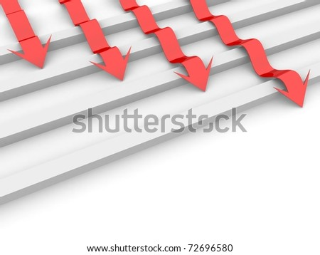 arrows are the obstacles of square blocks - stock photo