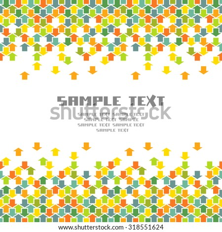 Arrows background. Seamless pattern with concept of movement, cooperation and concord. Illustration with text box for print, web