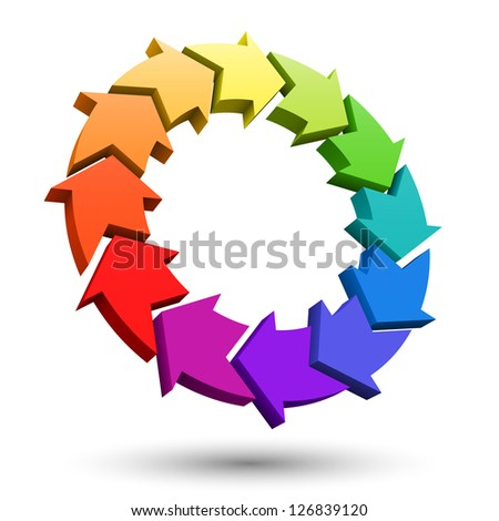 Arrows color wheel 3D. - stock photo