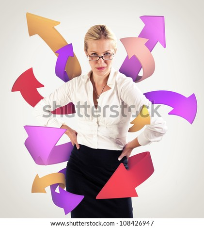 Arrows coming from a business woman