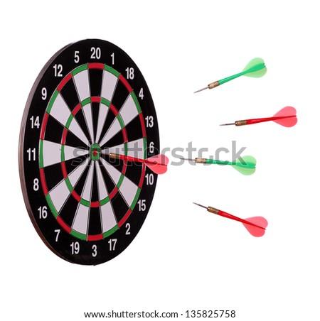 arrows flying to dard board - stock photo