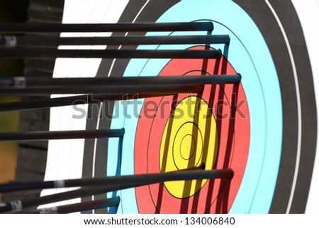 arrows hit target, successful concept. - stock photo