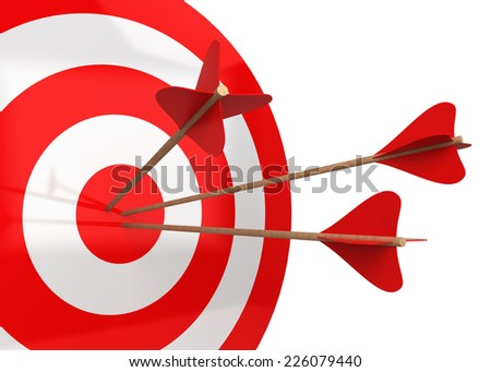 Arrows hit the target. 3d illustration isolated on white background  - stock photo