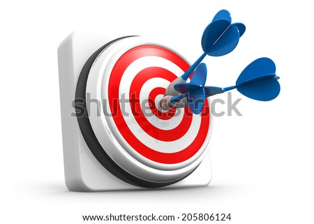 Arrows hitting the center of target, 3d render