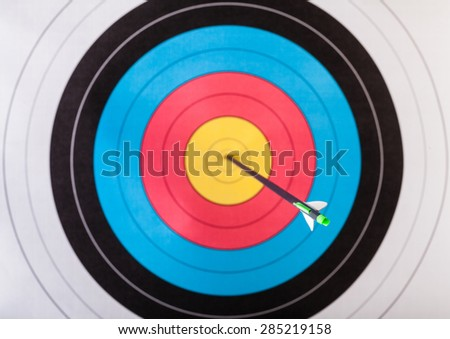 Arrows in archery target - stock photo