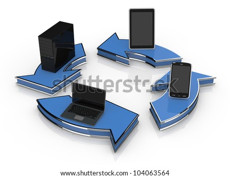 arrows in circle with computer notebook tablet pc and smartphone (3d render) - stock photo