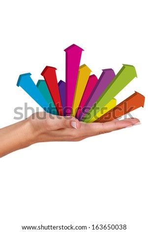 Arrows in hand - stock photo